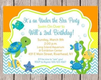 Sea Turtle Invitation Printable Under The Sea Turtle Birthday