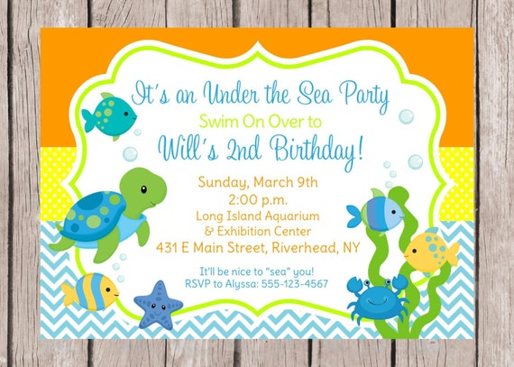Sea Turtle Wedding Invitations: Items Similar To PRINTABLE Under The Sea Birthday Party