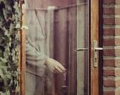 Look Closer - approx 18x13cm / 5x7in fine art MATTE photo print - watched, stalked, uneasy, fpoe, looking in, door