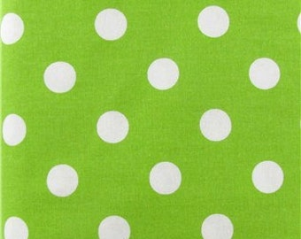 LIME DOTS YARDAGE Fabric by the yard lime green with white polka dots print cotton