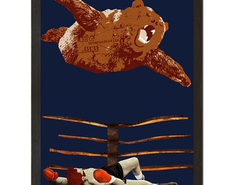 "Wall Art, Haymaker Pt II, Bearial Attack 18"" x 24"", Matte Print, Funny Bear Poster"