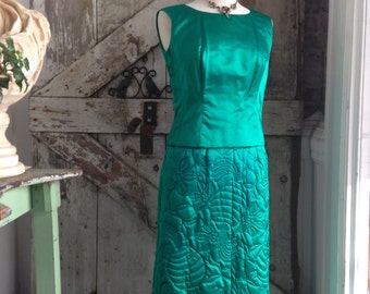 1960s emerald green cocktail dress 60s 3 piece set Vintage silk dress Dynasty quilted jacket