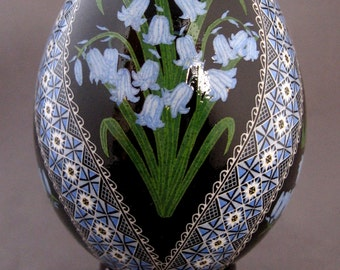 Made To Order Bluebells Pysanka Batik Ukrainian Style Easter Egg Art EBSQ Plus