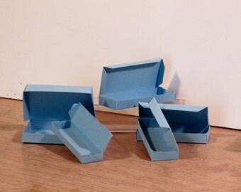 Miniature handmade cardboard boxes - blue - Set of 5