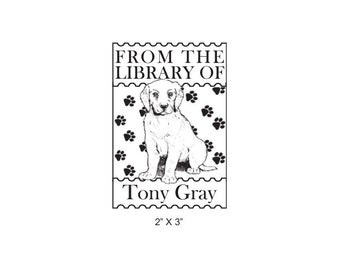 Personalized English Setter Puppy Bookplate Ex Libris Rubber Stamp M10