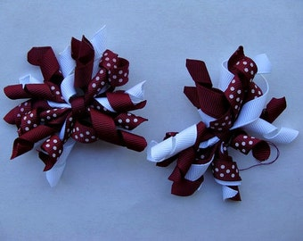 Alabama Crimson, Corker Hair Clips, Girls Boutique, Pigtails Twins, Korker hair bows, Tide Maroon, School Southern, Back to school, Toddler