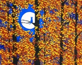 Russian Blue Cat Folk Art print of Todd Young painting HARVEST MOON