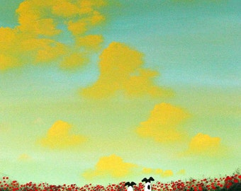 Smooth Fox Terrier Dog LARGE Folk Art print of Todd Young SPRING CLOUDS