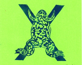 Xenopus X Monogram Linocut of the African Clawed Frog - Alphabet Typographic Lino Block Print - X is for Xenopus Frog