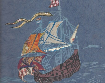 Sailing Ship XVIII - Block Print with Mixed Papers - Lino Block Print Historic Sailing Ship on Collaged Japanese Papers & Ephemera