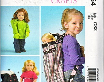 "McCalls 6854 18"" Doll Clothes Fits American Girl Doll Outfits Top Pants Mittens Coat & Backpack Sewing Pattern NEW UNCUT"