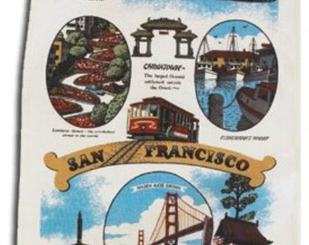 San Francisco California Souvenir Kitchen Towel Retro