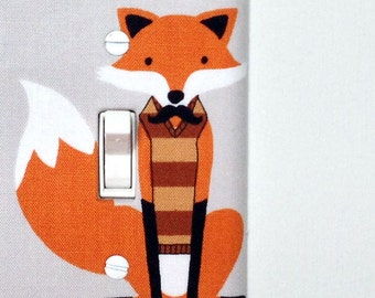 Light Switch Plate Cover, wall decor - gray with fancy fox with vest and mustache