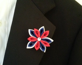 Red White Blue Star -- Fabric Flower Lapel Pin - SALE