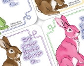 Easter Bunny Basket Gift Tags | Printable Staionery Digital Download | Pink Green Blue Brown | DIY Paper Crafts | Paper Party Supplies