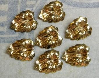 Vintage Metal Leaf Buttons Set of 7