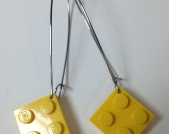 Elegant Drop Earrings with Yellow LEGO® plates
