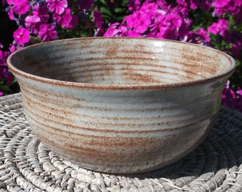 SALE Pottery Bowl for Serving - Blue Shino - Handmade Pottery
