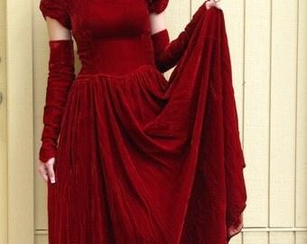 Vintage 30s Prom dress/ Crushed velvet gown/ FULL skirt