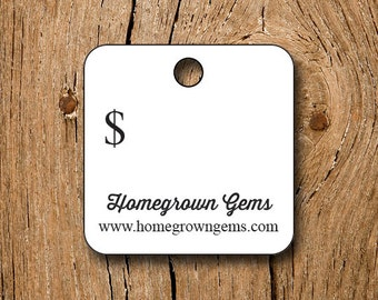 """120 tags - 1"""" - Customized Small Price Tags Jewelry Hang Tags Labels"""