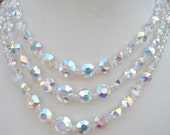 Sale ~ Beautiful Sparkling Vintage 3 - Strand Aurora Borealis Glass Bead Necklace