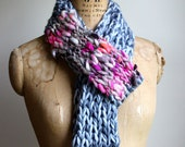 Bohemian knit loop infinity scarf. Grey. Hot Pink. Orange. Circle scarf Glacier gray READY to SHIP Gifts for her. Handmade knitwear.
