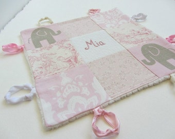 Baby Lovey Girl Blanket with Custom Hand Embroidery Name Or Initial ~ Choice of Backing Fabric ~Pink White Taupe ~ Elephants Damask Toile