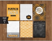 "3""x 4"" Printable Hello Pumpkin Journal Cards by Studio Pebbles"