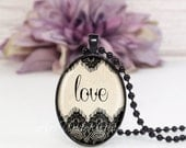 Oval Medium Glass Pendant Necklace- Script Love Black Lace