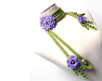 Crochet and Knit Scarf Necklace or Neckwarmer with Flowers, Leaves and Glass Pearls - Made to Order - choose your colors  - PEONY