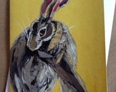 Coy Hare on Yellow Single Notecard from Original Painting Collage