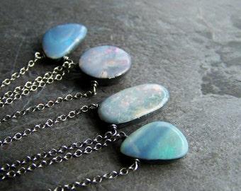 Blue Opal Necklace, Blue Opal Pendant, Fire Opal, Natural Opal, Gemstone Necklace, Minimalistic, Simple, Organic Jewelry