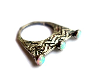 Triple Crown Ring - Sterling Silver and Opal