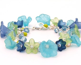 Lucite Flower Bracelet Sterling Silver - Aqua, Navy and Lime