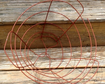 Vintage RED Wire Bushel Basket  Home Decor Storage Organizing