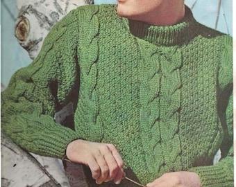 Knit Men's Turtleneck Sweater (U20)- Pattern  - PDF