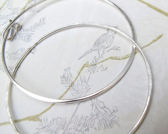 "2"" silver hammered hoops - classic sterling silver endless hoop earrings - boho style"