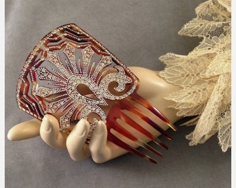 Outstanding Early 1900s Micro Rhinestone, Paste Faux Tortoise Celluloid Hair Comb, Gatsby, Bridal, Pique' Work