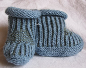 Blue and Grey Baby Booties, Hand Knit Booties, Baby Boy Slippers