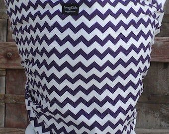 ORGANIC COTTON Baby Wrap Sling Carrier-Purple Chevron on White-DvD Included-One Size Fits All-Newborn -Toddler