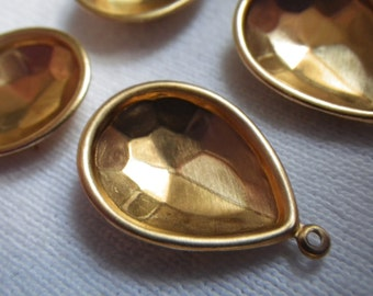 Brass Pear Rivoli 18x13mm Pear Glue-In Settings One Loop 4 Pcs