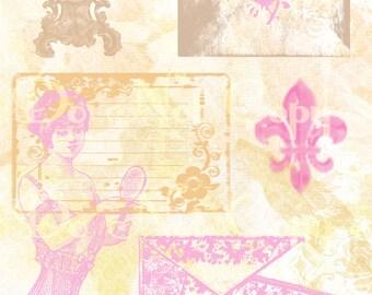 Buy 1 Get 1 FREE Vintage Victorian Feminine Ephemera Digital Collage INSTANT Download