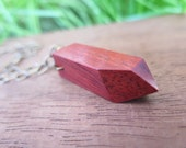 Pointed Red Wood Pendant Necklace  Brass Chain - Geometric Wooden - Boho Jewelry - Sharp Point Faceted - Bohemian Spirit - Marsala