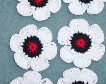 9 crochet applique flowers in red white and black thread--  1697