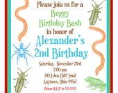 Bug Invitations, Little Critters, Bugs, Insects, Frogs, Spiders, snakes, Camping, BIrthday, Party, Children, Kids, Boys