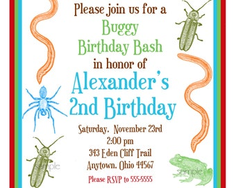 Bug Invitations,Bug Birthday invitattions, Little Critters, Bugs, Insects, Frogs, Spiders, snakes, Birthday, Party, Children, Kids, Boys