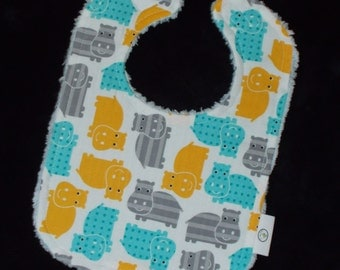 Hippos and Chenille Bib