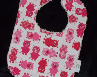 Pink Pigs and Chenille Bib
