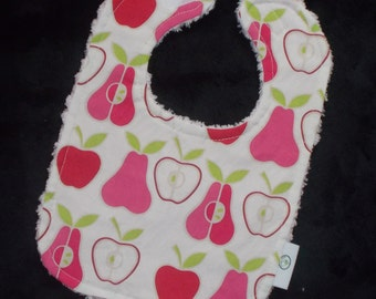 Fun Pink Mod Apples and Pears Fabric and Chenille Bib - SALE