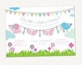 DIY Printable Pink Pastel bird custom tutu tie birthday party invitation